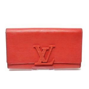 Auth Louis Vuitton Epi Leather Red Bifold Wallet